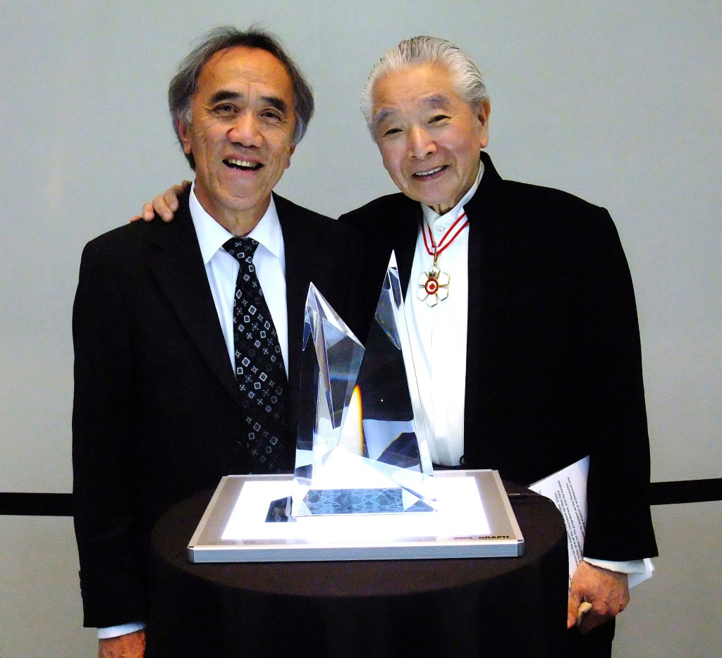 Wei with Raymond Moriyama and his design of Moriyama Royal Architectural Institute of Canada Award.