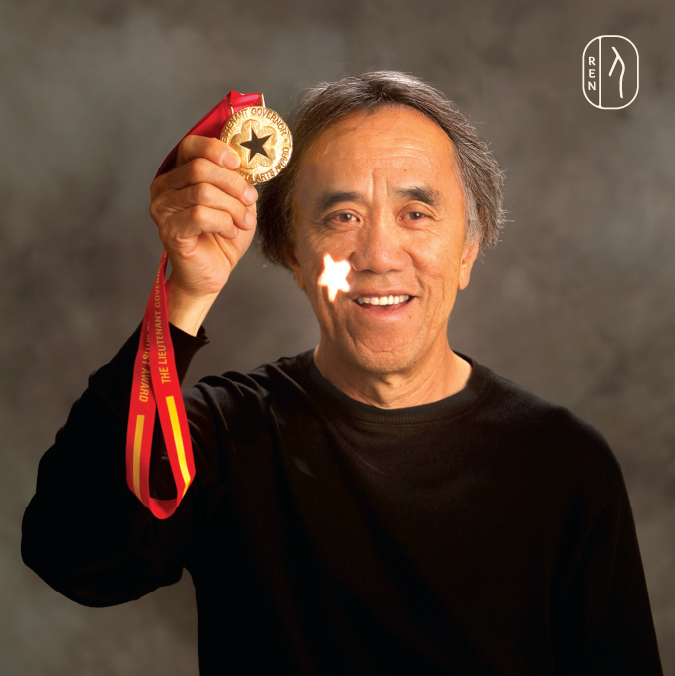 Wei Yew with his design of the Lieutenant Governor of Alberta Arts Award Medal